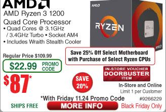 AMD Ryzen 3 1200 Processor with Wraith Cooler $87AC @Frys