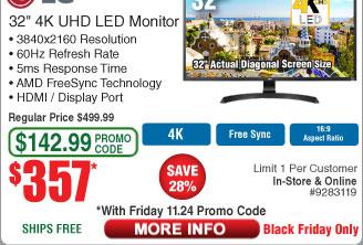 """LG 32"""" 32UD59-B VA UHD LED Monitor $357AC @Frys"""