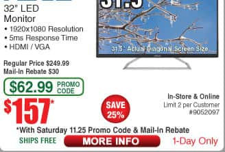 "32"" Asus VA325H FHD LED Monitor $157AR @Frys (11/25)"