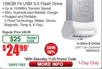 128GB Samsung Fit 3.0 USB Drive $25AC @Frys (11/25)