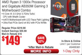 AMD Ryzen 3 1300X CPU and Gigabyte AB350M AM4 Motherboard $149AR @Frys