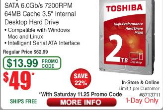 2TB Toshiba P300 Int Hard Drive $49AC @Frys