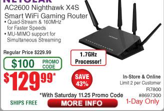 Netgear Nighthawk X4S R7800 AC2600 Dual Band Router $130AC @Frys