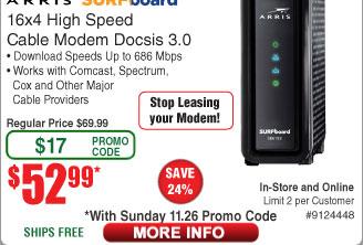 Arris Surfboard® 16x4 Docsis 3.0 Cablem Modem SB6183 BLACK $53AC @Frys (11/26) 5-port TrendNet GreenNet Switch $10AC