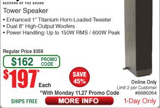 """Klipsch RF82 II 8"""" FloorStanding Speaker - Black $197AC @Frys (11/27)"""