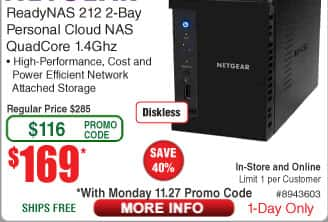 NETGEAR ReadyNAS 212 2-Bay Network Attached Storage (NAS) $169AC @Frys