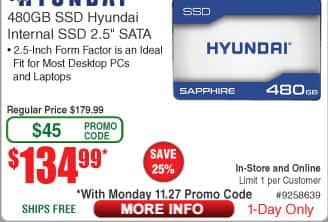 480GB Hyundai Sapphire SSD $135AC  @Frys