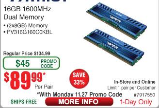 16GB (2x 8) Patriot Viper 3 DDR3 1600 Desktop RAM $90AC @Frys