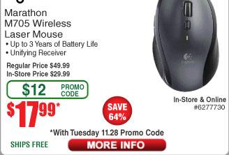 Logitech Marathon Mouse M705 $18AC @Frys  Inland ProHT Mouse $0.64AC