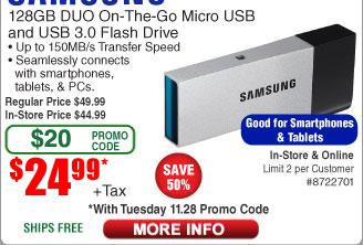 128GB Samsung Duo USB 3.0 OTG Flash Drive $25AC @Frys