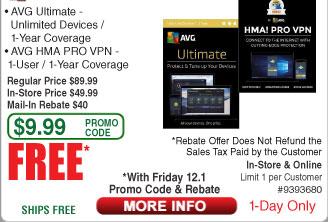 AVG Ultimate + HMA Pro VPN Bundle Free after $40 Rebate