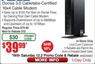 Asus CM-16 DOCSIS 3.0 16x4 High Speed Cable Modem $40AR @Frys (12/2)