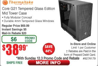 Thermaltake Core G21 ATX Dual 4mm Tempered Glass Computer Case $39AR @Frys (starts 12/3) View 27 Snow Edition Case $60AR
