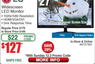 "27"" LG 27MP38VQ-B FHD IPS LED Monitor $127AC @Frys (starts 12/3)"
