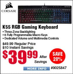 Corsair K55 RGB Gaming Keyboard $40AC@Frys / Amazon