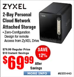 Zyxel NAS326 Personal NAS Cloud Storage 2-Bay Diskless $70 (OOS for ship)
