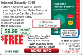 Kaspersky Internet Security 2018 3-Device 1 Yr Free after $50 Rebate (w/emailed code 12/4)