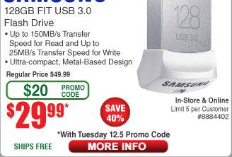 128GB Samsung Fit 3.0 USB Drive $30AC @Frys (starts 12/5)