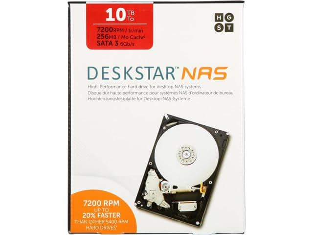 HGST Deskstar NAS 10TB Hard Drive $300AC @Newegg