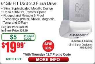 64GB Samsung Fit USB3.0 Flash Drive $20AC @Frys