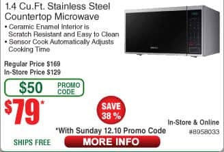 1.4 cu ft Samsung Stainless Steel Microwave Oven $69AC was $79AC @Frys  (starts 12/10)