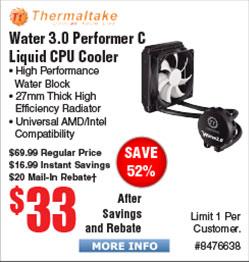 Thermaltake Water 3.0 Performer C Liquid Cooler $33AR@Frys