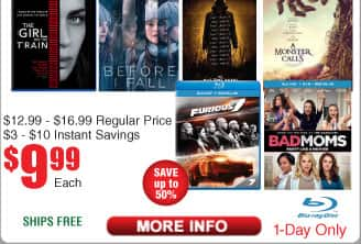 $10 BluRays @Frys titles include: Furious 7, Bad Moms, Before I Fall, A Monster Calls, the Bye Bye Man
