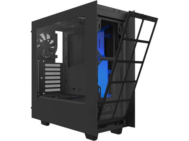 NZXT S340 Matte Black/Blue Steel ATX Mid Tower Case $50AR