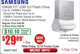 128GB Samsung Fit 3.0 USB Drive $30AC @Frys (starts 12/15)