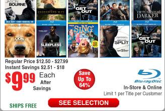 $10 Blurays @Frys (starts 12/17 ) titles incl: the Beguiled, Angry Birds, Jason Bourne, the Great Wall,, Magnificent Seven, Sausage Party, 50 Shades darker and more