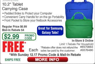 """Inland ProHT 10.2"""" Tablet Carrying Case Free after $4 Rebate (starts 12/17)  6-ft Bytecc HDMI Cable $0.98"""