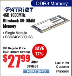 4GB Patriot Signature DDR3L 1600 SO-DIMM $28@Frys  Thermaltake Pure Blue 120mm Case Fan $5, Versa C22 Mid Tower Case $40AR;