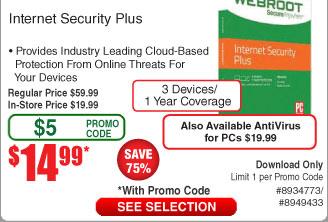 Webroot Internet Security Plus Anti-Virus [Download] $15AC @Frys