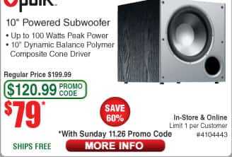 "Polk Audio 10"" PSW10 Powered Subwoofer $79AC @Frys"