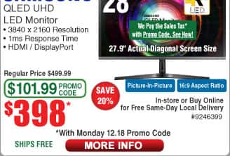 "28"" Samsung UH750 QLED 4K Ultra HD Monitor $398AC @Frys (12/18) 15-ft Bytecc HDMI Cable $2.99AC"
