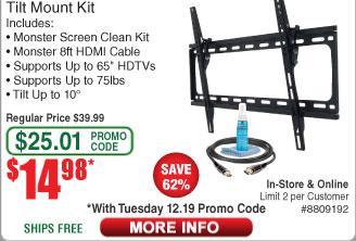 Monster HDTV Tilt Mount Kit $15AC @Frys