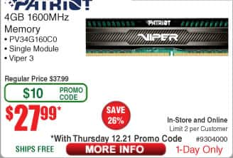 4GB Patriot Viper 3 DDR3 1600 Desktop RAM Module $28AC @Frys