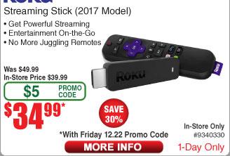Roku Streaming Stick (2017 Model) $35AC @Frys