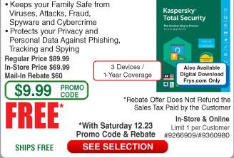Kaspersky Total Security 3-Dev/1Yr Free after $60 Rebate @Frys (12/23)