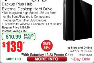8TB Seagate Backup Plus Hub Ext Hard Drive $139AC @frys 12/23