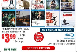 $4 BluRays @Frys (12/23)  titles incl 12 Years a Slave, Big, Taken 1 & 2, Rain Main, Bourne Identity & more