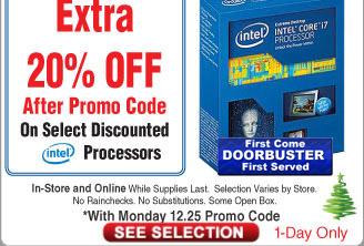 Intel Core i3-7350K CPU $104AC @Frys (starts 12/25) Pentium G3258 CPU $32AC