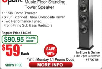 Frys Black Friday: Polk T50 Home Theater & Music Floor Standing Tower Speaker $59ea @Frys (OOS for ship)
