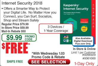 Kaspersky Total Security 3-Dev/1Yr Free after $50 Rebate @Frys 1/3