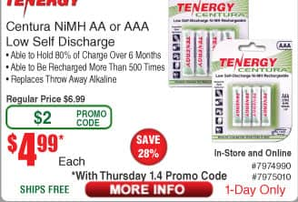 Tenergy Centura 4-pack NiMH AA or AAA Low Self Discharge Rechargeable Batteries $5AC@Frys (1/4)