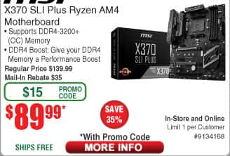 MSI X370 Sli Plus AM4 Ryzen Motherboard $90AR @Frys