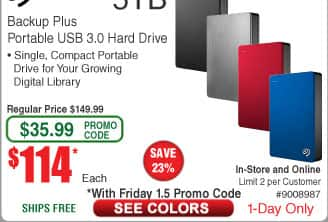 5TB Seagate Backup Plus Portable External Hard Drive $114AC @Frys (starts 1/5)