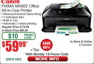Canon PIXMA MX922 Wireless All-in-One Printer $60AC @Frys