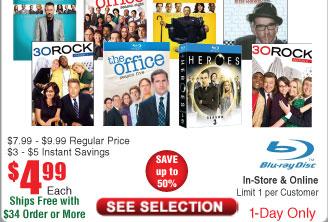 30 Rock. House and the Office (single season Blurays) $5 @Frys