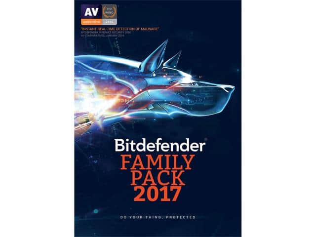 Bitdefender Family Pack 2017 - Unltd Dev/1Yr $25AC@Newegg